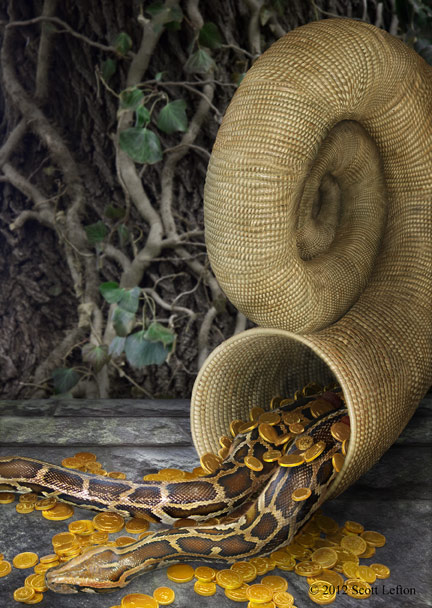 A wicker horn spills out gold coins and snakes.