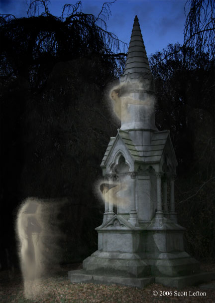 Three ghosts are by a large monument in a  darkened cemetery.